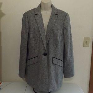 One Button Herringbone Striped Suit Blazer